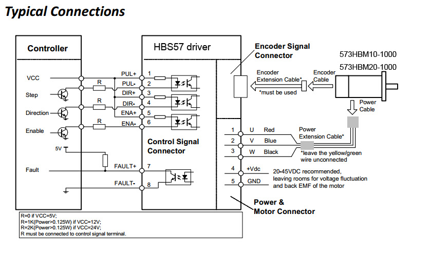 Servo HBS57 connection